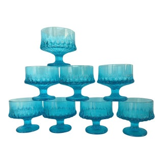 Vintage Turquoise Blue Textured Glass Sherbets - Set of 8