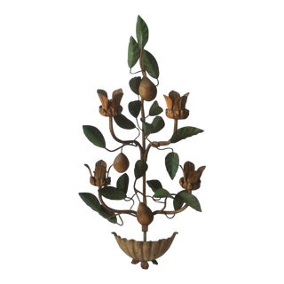 Painted Tole Wall Sconce With Alabaster Pears