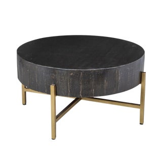 Black & Gold Round Coffee Table