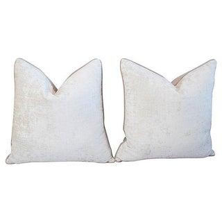 Custom Ivory Velvet Crocodile Pillows - Pair