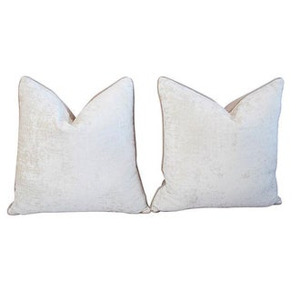 Custom Ivory Velvet Crocodile Pillows - Pair