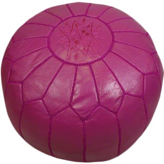 Dark Pink Leather Pouf