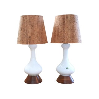Mid-Century Modern Cased White Murano Glass Lamps - A Pair