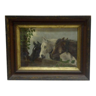 "Original ""Horses Drinking"" Framed Painting on Canvas Circa 1900"
