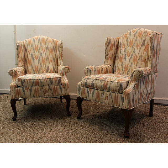 Queen Anne Fireside Wing Chairs by Rowe - Pair - Image 2 of 11