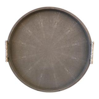 Gray Shagreen Round Tray