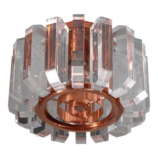 Set of three plexiglass and copper ceiling lamps, Germany, 1950s