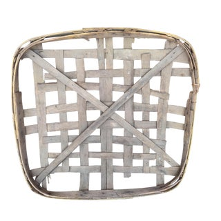 Antique Yellow Trim Tobacco Basket