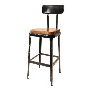 Vintage Lyon Industrial Metal Drafting Stool