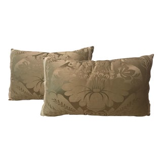 Green & Beige Patterned Pillows - A Pair