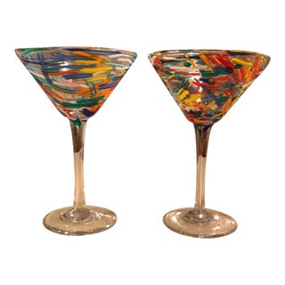 Confetti Blown Martini Glass - A Pair
