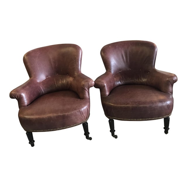 Mid Century Leather Club Chairs A Pair Chairish