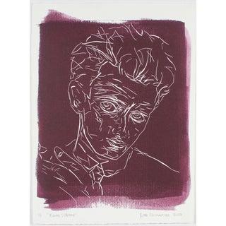 """Egon Schiele"" Block Print by Rob Delamater"