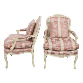 Louis XVI Style Cream Painted Fauteuils - Pair