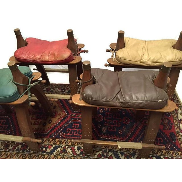 Vintage Egyptian Camel Saddle Bar Stools Set - 4 - Image 5 of 10