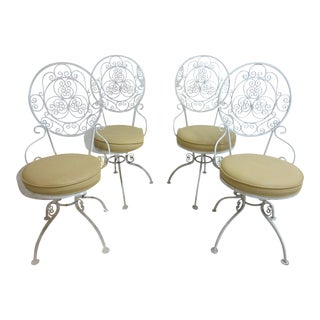 Vintage Scrolled Iron Swivel Outdoor Chairs - Set of 4