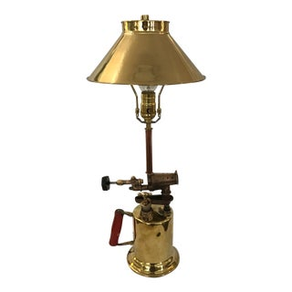 Early 1900's Blow Torch Lamp Conversion Polished Brass Parts And Shade