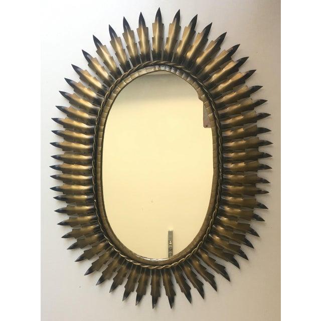 Spanish Gilt Metal Oval Sunburst Mirror - Image 2 of 3