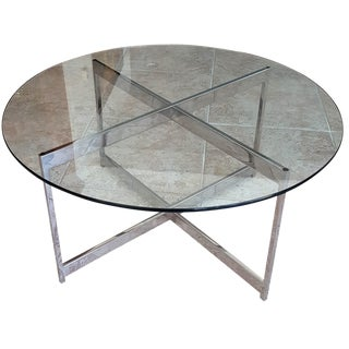 Mid-Century Chrome X-Base Glass Top Table