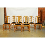 Image of Burl Wood Queen Anne Dining Chairs - Set of 8