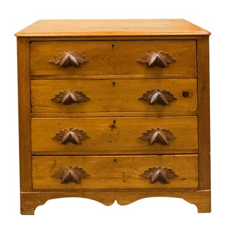 Antique Primitive Pine Chest of Drawers With Leaf Handles