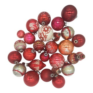 Collection of Vintage Mid-Century Red Christmas Ornaments - Set of 25