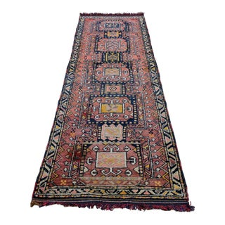 Antique Turkish Runner Herki Tribal Rug Hand Knotted Wool - 3' X 9'7""