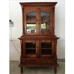 Image of Teak Credenza and Hutch with Glass Doors