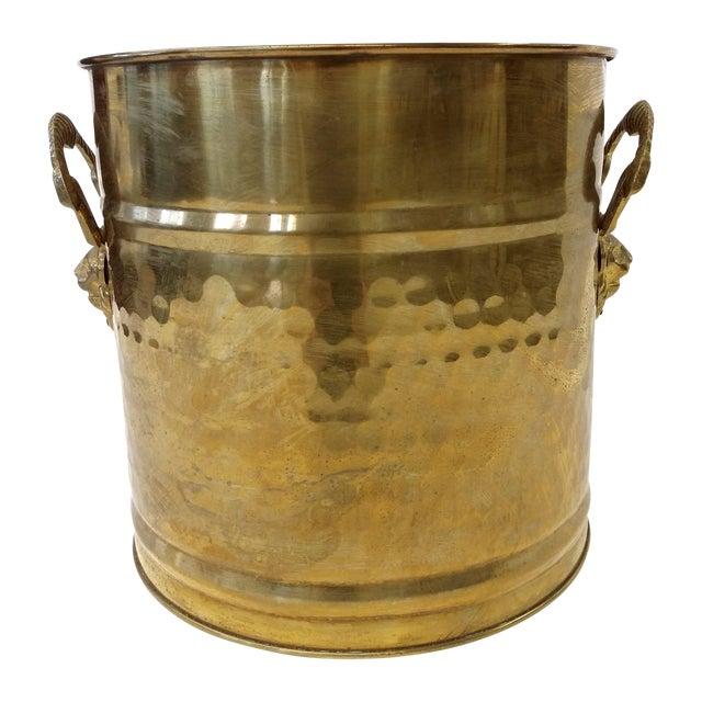 Brass Lion Head Handle Planter - Image 1 of 9
