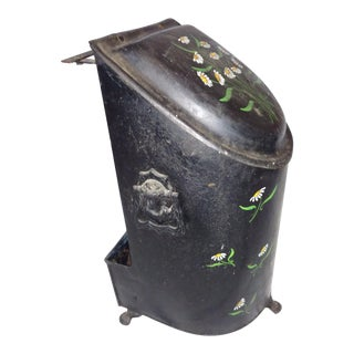 Victorian Tole Painted Coal Wood Bin