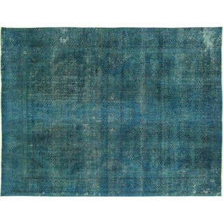 "Sea Blue Tabriz Overdyed Rug - 9'8"" x 12'7"""