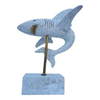 Vintage Tessellate Stone Shark Table Sculpture .
