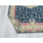 Image of Vintage Turkish Deco Blue Ground Rug - 4′9″ × 8′6″
