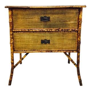 Antique Scorched Bamboo & Grasscloth Dresser Chest