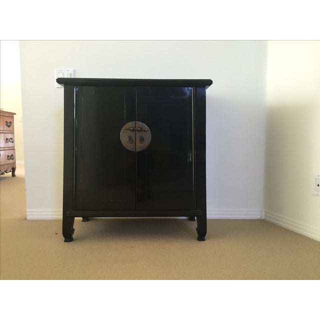 Image of Spruce Wood Small Black Cabinets - Pair