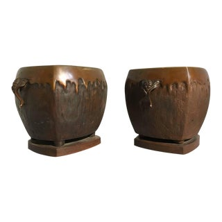 Pair of Japanese Art Nouveau Bronze Hibachi Planters