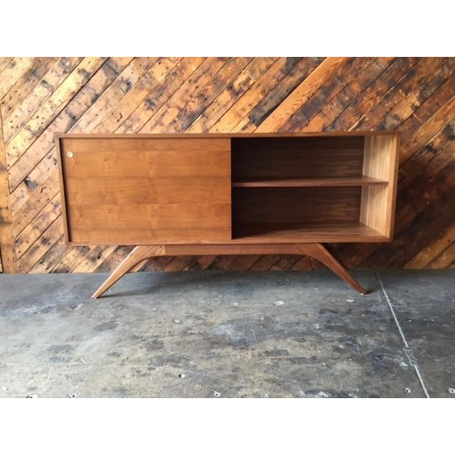 Mid Century Style Custom Walnut Sculpted Base Credenza - Image 5 of 9