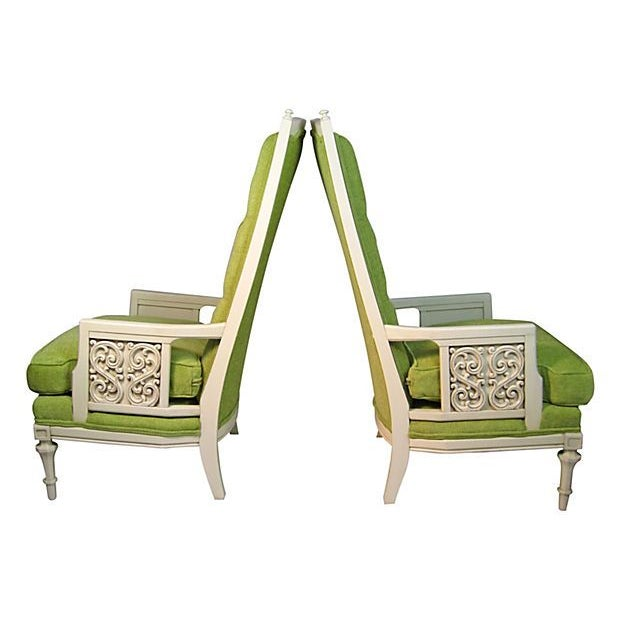 Image of Green High Back Tufted Broyhill Chairs - A Pair