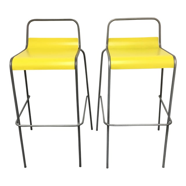 CB2 Yellow & Silver Bar Stools - A Pair - Image 1 of 8