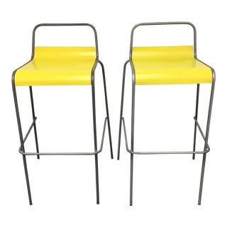 CB2 Yellow & Silver Bar Stools - A Pair
