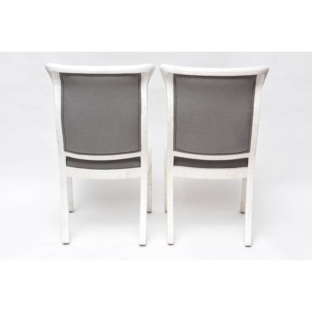 Tesselated Bone and Linen Side Chairs - Image 7 of 10