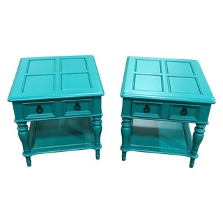 Turquoise End Tables by Bassett - Pair