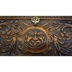 Image of Ornate Hand Carved Oak Secretary Desk