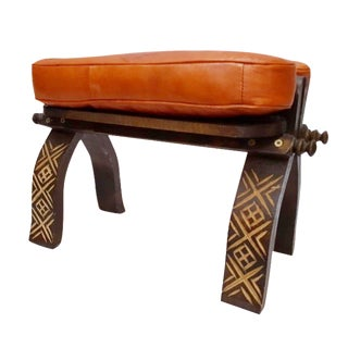 Orange Leather Moroccan Footstool