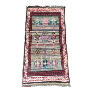 "Vintage Moroccan Boucherouite Kilim Rug - 4'1"" X 7'9"""