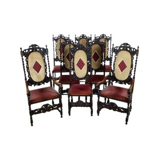 English Renaissance Dining Chairs - Set of 12
