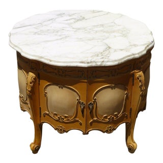 Vintage French Provincial Rococo White Marble Top Carved End Table