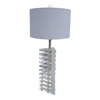 Triangular Stacked Lucite Table Lamp.
