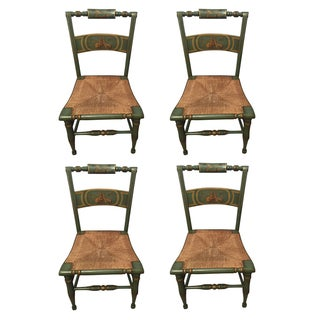 Hitchcock Style Painted Rush Seat Chairs- Set of 4