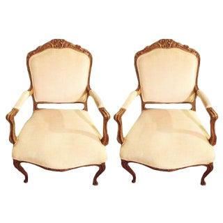 Louis XIV Crush White Velvet Armchair - A Pair